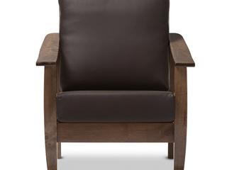 Baxton Studio SW3656 Dark Brown Walnut M17 CC CTN2 Pierce Mid Century Modern Walnut Brown Wood   Dark Brown Faux leather 1 Seater lounge Chair