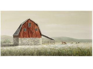 The Gray Barn Old Red Barn Textured Hand Painted Red Barn landscape Wall Art