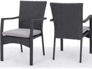 Corsica Outdoor Wicker Dining Chair  Set of 2  by Christopher Knight Home