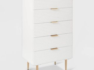Jolie 5 Drawer Tallboy Dresser White   Adore Decor