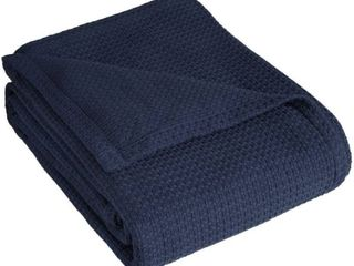 Elite Home Grand Hotel Cotton Solid Blanket   Navy  King