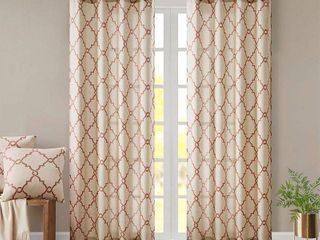 95 x50  Sereno Fretwork Print light Filtering Curtain Panel Beige Spice