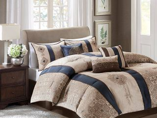 Navy Perry Comforter Set Queen 7pc