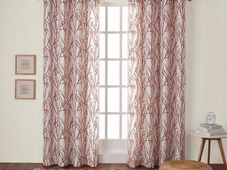 Set of 2 84 x54  Branches linen Blend Grommet Top Window Curtain Panel Mecca Orange   Exclusive Home