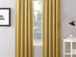 63 x54  Seymour Energy Efficient Room Darkening Rod Pocket Curtain Panel Yellow   Sun Zero