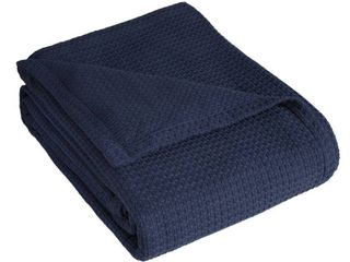 Grand Hotel Woven Cotton Throw Blanket   King   Navy