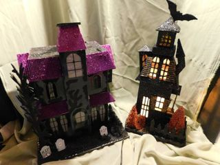 Halloween light Up Houses  2 ea