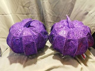 Sparkly Purple Pumpkins   2 NEW