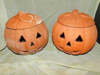 Clay Jack O lanterns  2 ea