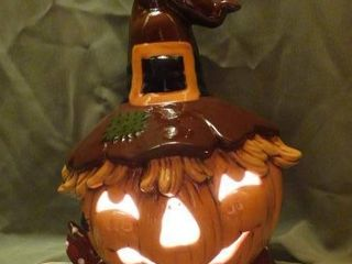 light Up Ceramic Scarecrow Jack o lantern