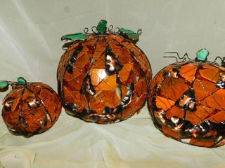 Stained Glass Pumpkins  3 ea