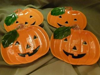 Set of 4 Pumpkin Plates