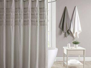 Roselle Cotton Seersucker with Tassel Shower Curtain Gray