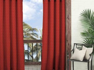 95 x52  Key largo Solid Indoor Outdoor Curtain Panel Red   Waverly Sun N Shade
