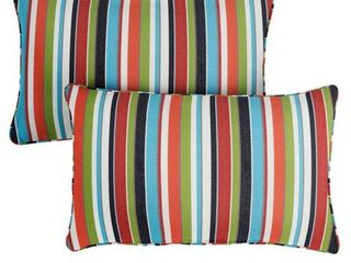 Sunbrella Colorful Stripe Indoor Outdoor Corded lumbar Pillows  Set of 2  Retail 99 99