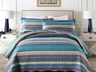 MarCielo 3 Piece Bohemian lightweight Quilt Set Rustic lodge Cabin Quilt Quilted Bedspread Printed Quilt Bedding Throw Blanket Coverlet lightweight Bedspread King Size BY011
