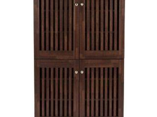 Copper Grove Angelina Dark Brown Shoe Cabinet With 4 Doors  Retail 158 99