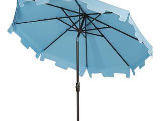 Safavieh Zimmerman 9  Market Crank UV Resistant Patio Umbrella  Blue