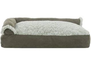 FurHaven Pet Bed   Two Tone Faux Fur   Suede Deluxe Chaise lounge Pillow Sofa Style Dog Bed