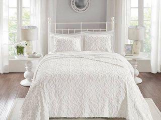 Madison Park Sarah Tufted Cotton Chenille Bedspread Set  Retail 89 92