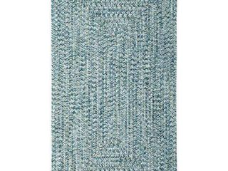 Sea Glass Blue Concentric Rectangle Outdoor Braided Rugs  Retail 188 00
