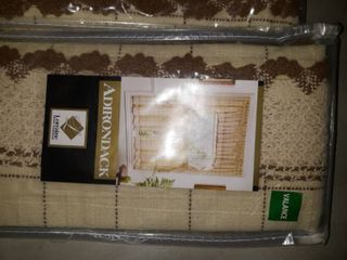 pack of 2 Cotton Classic Toast Window Pane Pattern and Crotchet Trim Tiers  Swags and Valance Options