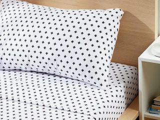 Johnson Home Double Sheet Set Black   White Swiss Cross Black And White Double