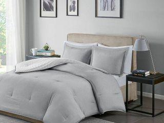 Gray Braydon Reversible Stripe Comforter Mini Set Full Queen