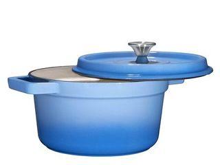 Bruntmor  Enameled Cast Iron Dutch Oven Casserole Dish 6 5 quart large loop Handles   Self Basting Condensation Ridges On lid