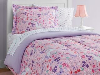 Unicorn Floral 11 Piece Bed in a Bag With Extra Sheet Set