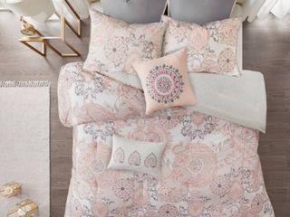 King 8pc lian Cotton Printed Comforter Set Blush