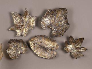 Bronze leaves Wall Art  Set of 5