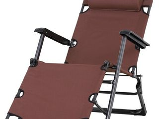Outsunny Metal Frame Outdoor Pool Sun lounger Reclining Chair 120A 180A with Comfy Head Pillow   Reclining Design  Brown