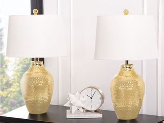 Abbyson Portia 25 inch Gold Table lamp  Set of 2  Retail 119 99