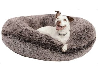 Bessie and Barnie Signature Frosted Willow luxury Shag Extra Plush Faux Fur Bagel Pet  Dog Bed  Retail 86 99