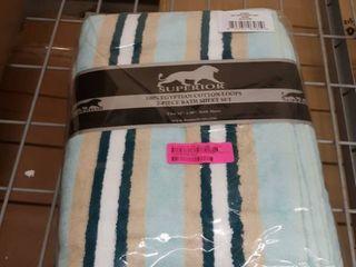 Miranda Haus Stripe Cotton Bath Sheet  Set of 2