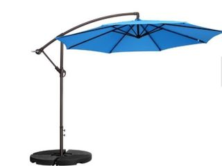 10 ft  Aluminum cantilever tilt patio umbrella in blue by Villacera