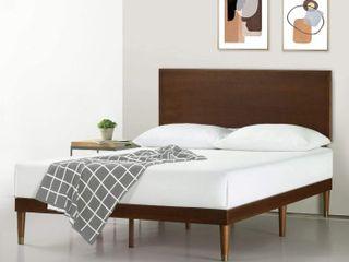 Zinus Deluxe Mid Century wood platform bed King