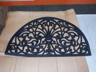 Black semicircle door mat