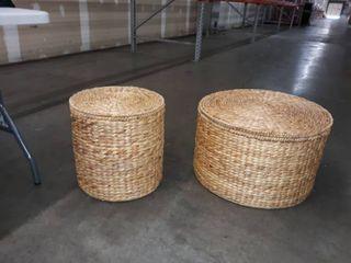 Haper Blvd Sachi Coastal Natural Woven Fiber Storage Tables  Set of 2  Retail 126 99