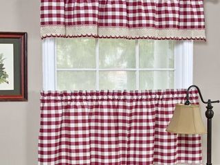 Box of 4 Classic Buffalo Check Kitchen Burgundy White Curtain Set or Separates