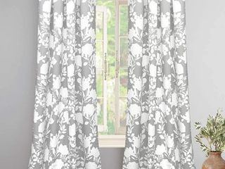 DriftAway Floral Delight Botanic Pattern Room Darkening Grommet Unlined Window Curtains Set of 2 Panels Each 52 Inch by 84 Inch Gray