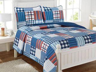 Hudson Patchwork Blue Plaid 3 Piece Reversible Cotton Quilt Set