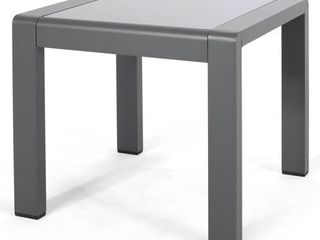 Christopher Knight Home Cape Coral Aluminum and Glass Outdoor Side Table  Retail 109 99