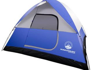 6 Person Tent  Water Resistant Dome Tent for Camping With Removable Rain Fly And Carry Bag  Blue  By Wakeman Outdoors