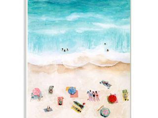 Stupell Industries Beach Family Coast Ocean Blue Watercolor Painting 10x15  Proudly Made in USA