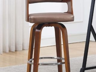 Wood and Faux leather Mid Century 27 Inch Swivel Counter Stool