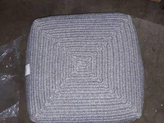 Gray woven cube pouf 18A18A18