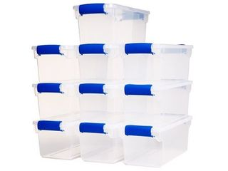 Homz 7 5qt latching Plastic Storage Container  Clear Blue  Set of 10