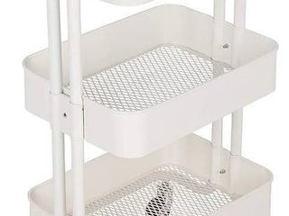 M S  Premium 3 Tier Rolling Metal Shelving Utility Storave Cart w Wheels